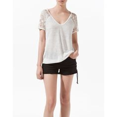 Zara Linen T-Shirt With Lace Back ($36) ❤ liked on Polyvore
