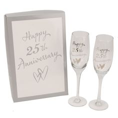 Juliana 25th Silver Wedding Anniversary Champagne Gles Gift G31725