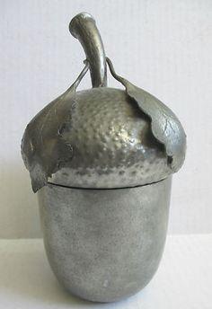Pewter acorn box
