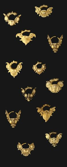 Indonesia ~ Java | Ear ornaments; gold | ca. 650 - 1000, Early Classic Period