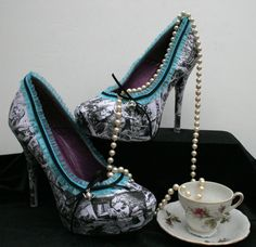 These WILL be my shoes for the wedding. Alice In Wonderland Heels Wedding Heels Wedding by LeadFootLucy, $85.00