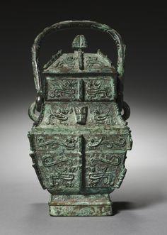Ritual Wine Vessel: Fangyou, c. 1300-1030 BC China, probably from Anyang, Henan province, Shang dynasty (c.1650-c.1050 BC), Anyang period (c.1300-1045 BC)