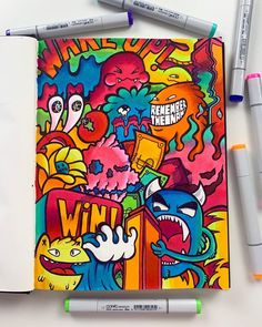 New Full Doodle finished! I made this a while back in America actually and unfortunately some water from the pool got onto the page 😰 But… Graffiti Art, Graffiti Doodles, Graffiti Drawing, Cool Doodles, Kawaii Doodles, Simple Doodles, Copic Kunst, Copic Art, Doodle Monster