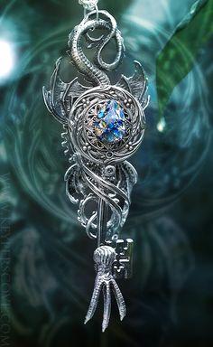 Quad Wing Blue Stone Dragon Key by KeypersCove.deviantart.com on @deviantART