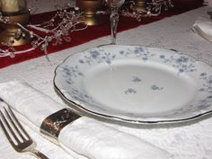 """My china!!  I searched for several years after discovering pieces of this pattern in a box of garage sale china.  I purchased this set of 12, including serving pieces, from a rummage sale supporting Aurora House, about 4 years ago.  Haviland """"Blue Garland"""", 1960s-1970s, Made in Germany."""