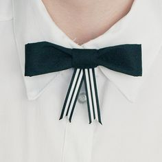 Womens Bow Tie - Black with Striped Ribbons