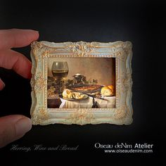 Miniature Painting Prints Picture Frame Still Life-Herring, Wine and Bread Painting Frames, Painting Prints, Antique Frames, Air Dry Clay, Summer Flowers, Print Pictures, Still Life, Picture Frames, Handmade Items