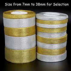 25yard/lot Handmade Glitter Golden Silver Ribbon Metallic Luster for Wedding Christmas Invitation Decoration Card Gift Warpping