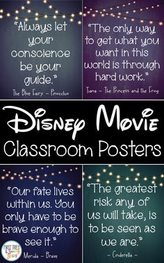 Disney Movie Quotes Posters - Inspirational Walt Disney Quotes - Bring the magic and wonder of your favorite Walt Disney movies into your classroom with this cute set of inspirational quotes posters. Each poster beautifully displays a motivational quote from a classic Disney movie. Your students will love connecting with these timeless words of wisdom from their favorite characters. Disney Movie Quotes, Walt Disney Movies, Classic Disney Movies, 6th Grade Activities, Classroom Activities, Classroom Posters, Classroom Decor, Classroom Organization, Classroom Management