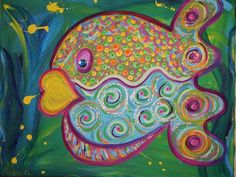 Purple Polka Dotted Puffer #Fish art