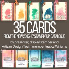 Presentation and display board samples from Stampin' Up! OnStage 2016. All samples created by Artisan Design Team member Jessica Williams.
