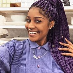 HAIRSPIRATION| In love with these purple #boxbraids on @paris.crusoe This color looks amazing on her #voiceofhair ✂️========================== Go to VoiceOfHair.com ========================= Find hairstyles and hair tips! =========================