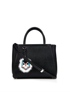 Fendi Petite 2Jours leather fur-tag tote