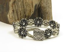 SUPERDUO FLOWER BRACELET-Gunmetal and Chalk Silver SuperDuos-Silver Glass Pearls-Miyuki Light Pewter Seed Beads-Boho-(SD77) by CinfulBeadCreations on Etsy