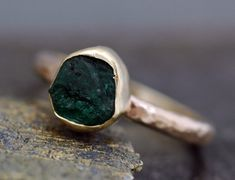 Rough Emerald Ring in 14k or 18k Reycled Gold by Specimental