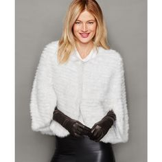 The Fur Vault Knitted Mink Fur Cape ($907) ❤ liked on Polyvore featuring outerwear, white, white fur cape, white cape coat, mink cape, cape coat und white cape