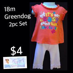 "18m Greendog Baby Girl 2pc ""Fabulous"" Lace Cuffed Legging Set $4 Buy this product right on Facebook https://admin.shoptab.net/linkbacks/221602947"