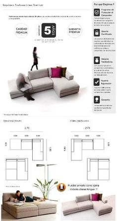 fullconfort sillón esquinero convertible cama línea premium Convertible, Sofa Layout, Sofa Dimension, Modular Sofa, Sofa Furniture, Wood Projects, Living Room, Interior Design, Bedroom