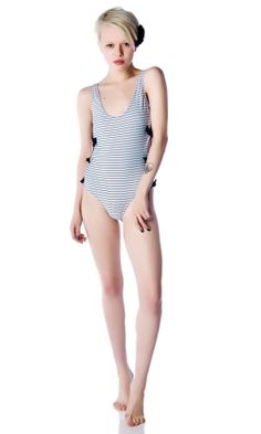 9bc72da1571b5 I Love Rock and Roll Side Bow One Piece Swimsuit
