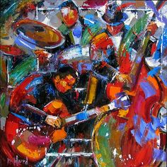 """Daily Painters Abstract Gallery: Abstract Jazz Music Art Painting, Music Art """"Jazz Outside the Box""""by Texas Artist Debra Hurd"""