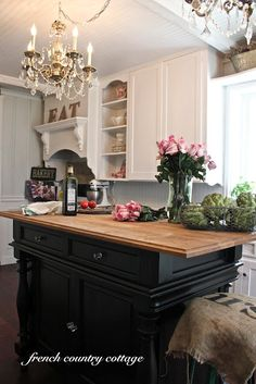 Creating Open Shelves in the Kitchen:  A french country kitchen (Wow! Gorgeous, shows a before picture. Updated original old cabinets, without replacing!)