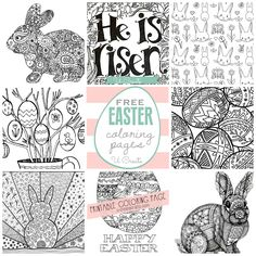 The free EasterColoring Pages are here!You can't walk into a store without seeing those popular adult coloring books everywhere and today I'm sharing a fun variety — Easter style! You can hang or frame your finished project to inspire you or add to your holiday decor! He Is Risen Coloring Page by U Create Easter …