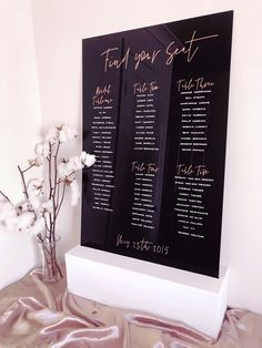 Usually the first thing you see at a wedding reception is the seating plan and this black + rose gold number is a beauty! Reception Signs, Wedding Reception, Wedding Tables, Gold Wedding, Diy Wedding, Wedding Favors, Wedding Ideas, Wedding Locations, Wedding Events