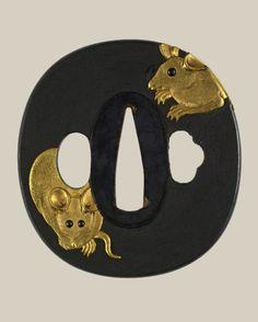 DIE MAUS: Tsuba mit Mäusen 18. bis 19. Jahrhundert erste Hälfte, Japan / Tsuba with mice on it.  18th to first half 19th century, Japan.