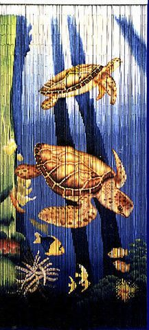 Nicely detailed sea turtles and assorted tropical fish adorn this striking bamboo curtain. Made of hundreds of small pieces of bamboo, each one hand-painted 360 degre Tropical Decor, Tropical Fish, Bamboo Beaded Curtains, Bead Curtains, Painted Bamboo, Hand Painted, Door Beads, Baby Sea Turtles, Tortoise Turtle