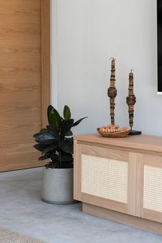 Loughlin Furniture Pacific Rattan Entertainment unit in American Oak. Collaboration with The Designory at Byron Bay. Simply Home, Byron Bay, Rattan, Barefoot, Collaboration, Entryway Tables, Villa, Lounge, Entertainment