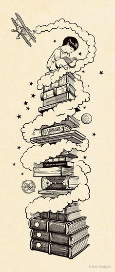 'Children's Books at Blackwell's'. Drawing of a small boy sitting on top of a huge pile of classic children's books, surrounded by clouds, stars, asteroids and a model biplane. Copyright Kate Madigan.