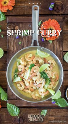 Thai Shrimp Curry This Thai inspired Keto friendly recipe combines savory shrimp curry with cauliflower rice. An outstanding choice for family dinners that is exotic and exciting. Curry Recipes, Seafood Recipes, Diet Recipes, Cooking Recipes, Healthy Dishes, Good Healthy Recipes, Clean Recipes, Thai Shrimp Curry, Healthiest Seafood