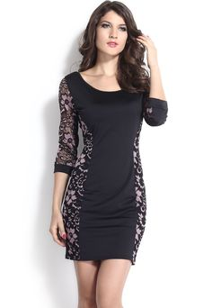 97922a5dcb Black and pink lace lace 3 4 length sleeve classic dress