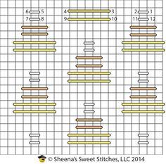 Candy Corn Darning Pattern - Little witch? Needlepoint Stitches, Needlepoint Patterns, Needlepoint Canvases, Embroidery Stitches, Needlework, Embroidery Ideas, Plastic Canvas Stitches, Plastic Canvas Patterns, Chicken Scratch Patterns