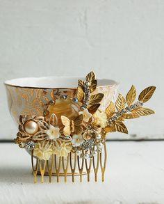 Gold Bridal HAIR COMB Rhinestone Jeweled Hair