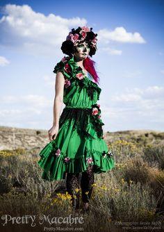 Day of the Dead Dress & Head Piece  Dia De Los by prettymacabre. , via Etsy.