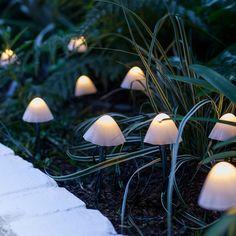 12 Mini Mushroom Solar Stake Lights | Lights4fun.co.uk