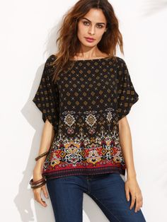 Black Ornate Print Boat Neck Batwing Top