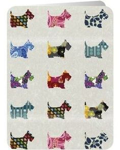 Santoro Eclectic Collection Double Postcard | Scottie Dogs