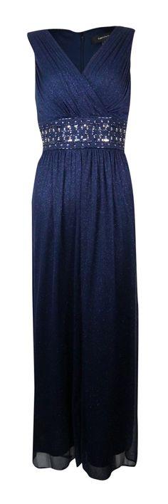 R Richards Women's Glitter Embellished Empire Waist Gown