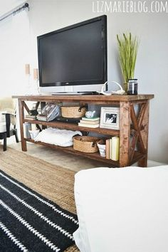 DIY:: Rustic TV Console-Kelly is wanting to build something like this and I cant wait to see what the final product is!