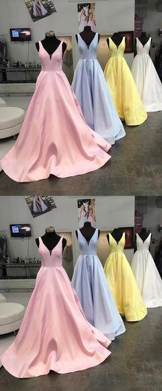 2018 prom dresses, elegant long prom dresses, pink long prom dress, yellow long prom dress, light sky blue prom dress, white prom dress