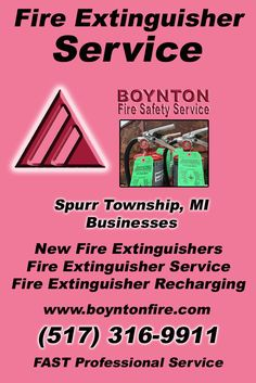 Fire Extinguisher Service Spurr Township, MI (517)  316-9911) Call the Experts at Boynton Fire Safety Service.. We are the complete source for Fire Extinguisher Service for Local Michigan Businesses We would love to hear from you.. Call us Today!
