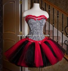 Red and Black Short Gothic Corset Dress Alternative Measures