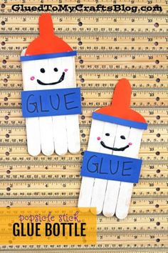 Popsicle Stick Glue Bottle Friends – Kid Craft Popsicle Stick Glue Bottle Friends – Kid Craft – Craft Wood Stick Glue Friends – Back To School Art Project For Kids To Make – Easy Teacher Classroom Decor Idea - Back To School Back To School Crafts For Kids, Back To School Kids, Crafts For Teens To Make, Daycare Crafts, Toddler Crafts, Daycare Rooms, Glue Crafts, Craft Stick Crafts, Wood Crafts