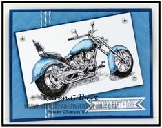 Motorcycle Ride by kaygee47 - Cards and Paper Crafts at Splitcoaststampers.  Paper: Whisper White, Midnight Muse, Marina Mist Ink: Marina Mist Accessories: Big Shot, Chevron Emboss Folder, Bitty Banners Framelit Dies, Island Indigo Baker's Twine, Silver Brads (retired), Spectrum Noir Alcohol Markers  Read more: http://www.splitcoaststampers.com/gallery/photo/2525825#ixzz344PuoqCS