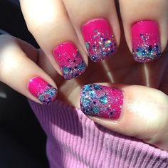 Hot pink and blue rhinestone nails