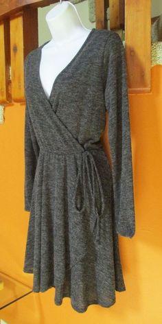 JELLA C Charcoal Gray Wrap Sweater Dress M #JellaC #SweaterDress #Casual