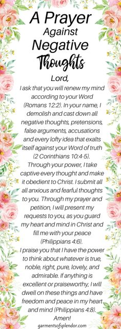 A Prayer Against Negative Thoughts - - Do you need to break a stronghold in your life? Get encouragement through God's Word and break the strongholds that are holding you back from true freedom! Prayer Scriptures, Bible Prayers, Faith Prayer, God Prayer, Power Of Prayer, Prayer Of Hope, Worry Prayer, Prayers Of Encouragement, Prayers For Strength