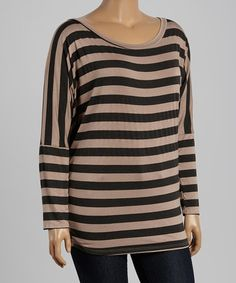2b2652a73c2 Another great find on  zulily! Mocha  amp  Gray Stripe Scoop Neck Top -
